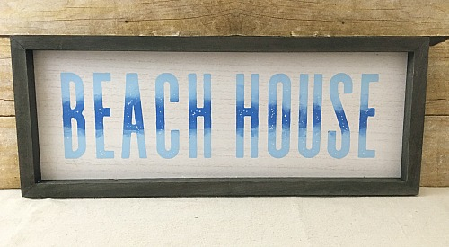 Vintage Paint and more... a beach house sign diy'd with Chalk Couture transfer, chalk paste and box frame