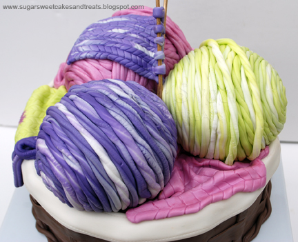 Moms Knitting Basket Cake