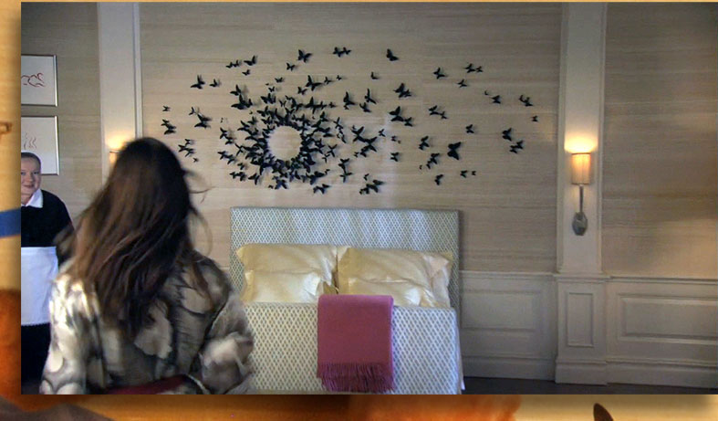 online interior design gossip girl 39 s butterfly wall. Black Bedroom Furniture Sets. Home Design Ideas
