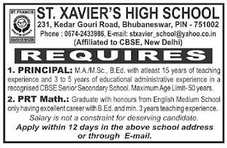 Bhubaneswar, St. Xavier's High School PRT Teacher, Principal Recruitment 2020