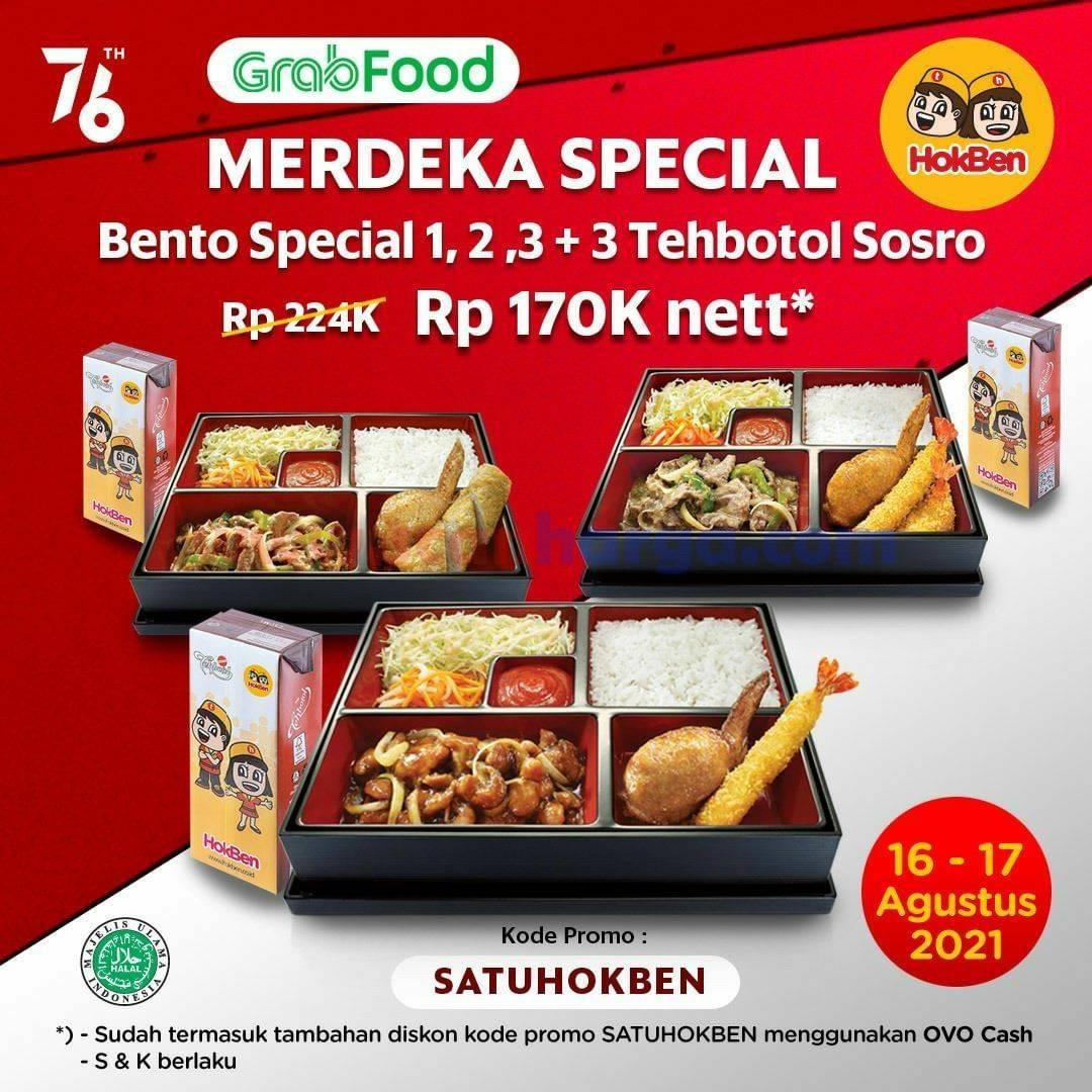 Promo HokBen Merdeka - Beli Bento Special 1+2+3 + 3 Tehbotol Sosro cuma 170K nett*