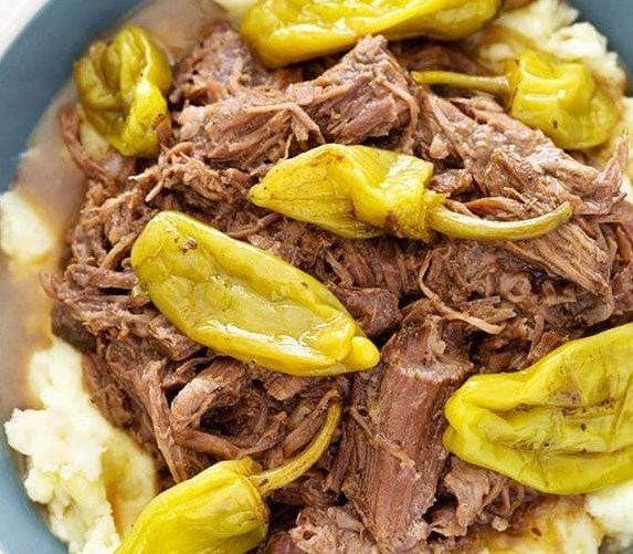 Slow Cooker Mississippi Pot Roast #dinner #lunch
