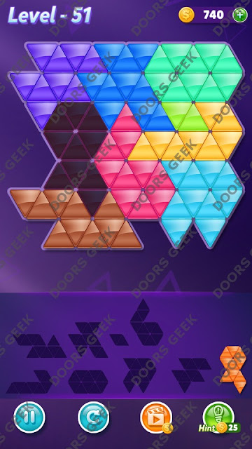 Block! Triangle Puzzle 9 Mania Level 51 Solution, Cheats, Walkthrough for Android, iPhone, iPad and iPod