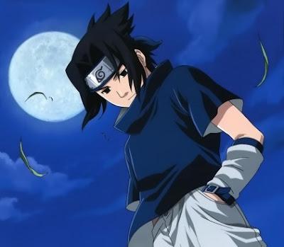 Dibujo de Sasuke Uchiha triste bajo la luna