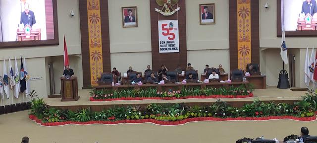 DPRD SULUT,Gelar Rapat Paripurna Penjelasan Gubernur Terhadap RAPBD Ta 2020, Pemandangan Umum Fraksi- Fraksi Serta Propemperda