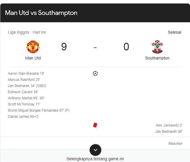 Man Utd vs Southampton peroleh hasil 9 - 0, setan merah samai rekor Man City