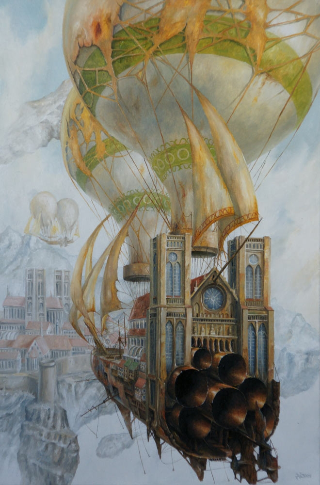 02-Port-in-the-Mist-Jaroslaw-Jaśnikowski-Paintings-of-Surreal-Architecture-with-Gothic-Undertones-www-designstack-co