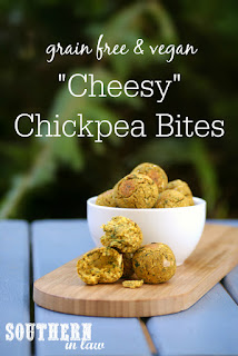Vegan Cheesy Chickpea Bites Recipe with Nutritional Yeast - low fat, gluten free, vegan, grain free,  healthy, clean eating recipe