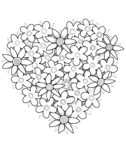 Hearts flowers coloring pages for kids disney coloring for Heart coloring pages for teenagers