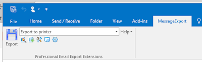The MessageExport toolbar in MS Outlook 2016.