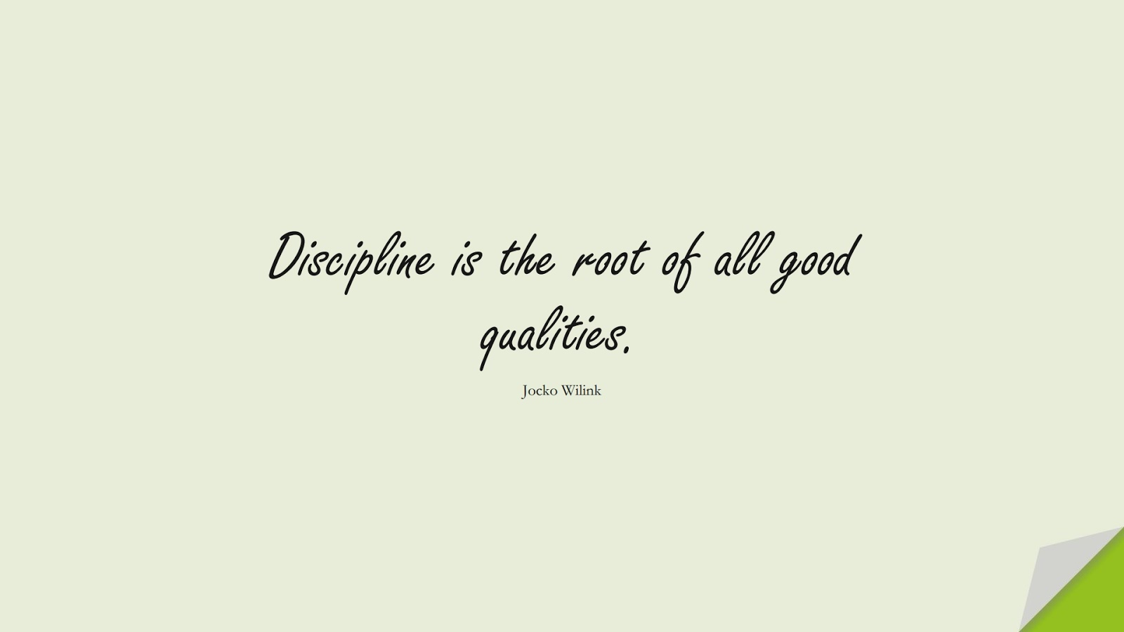 Discipline is the root of all good qualities. (Jocko Wilink);  #CharacterQuotes