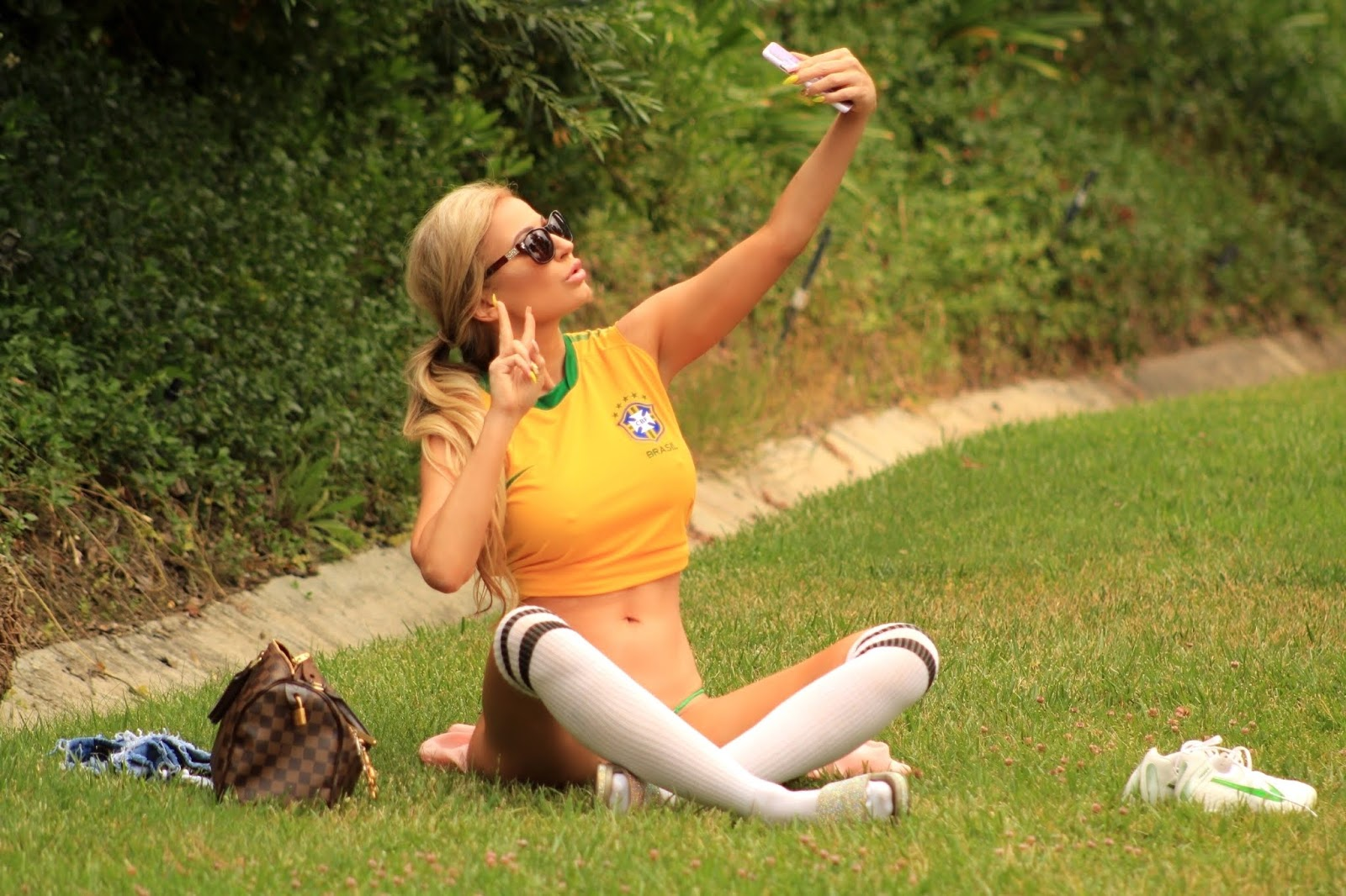 Ana Braga – Shows her support for Brazil in Calabasas