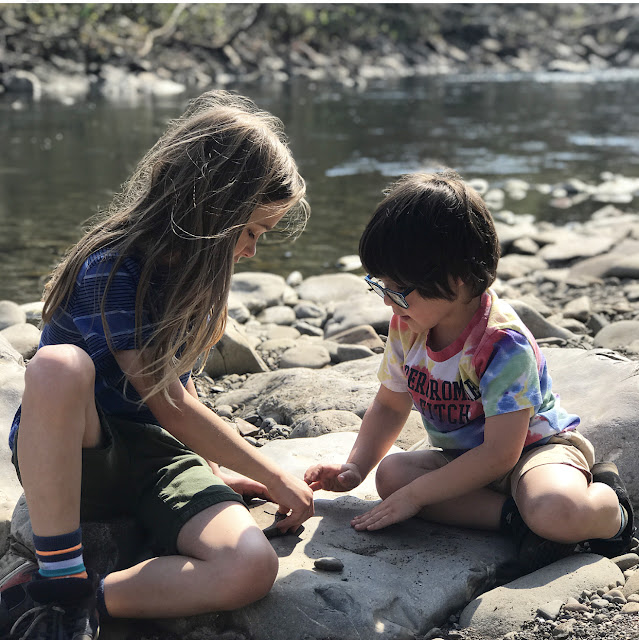 kids by river