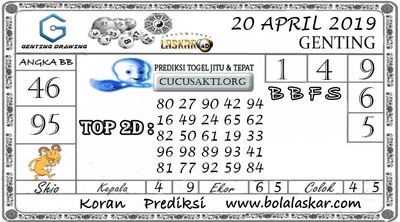 Prediksi Togel GENTING DRAWING LASKAR4D 20 APRIL 2019