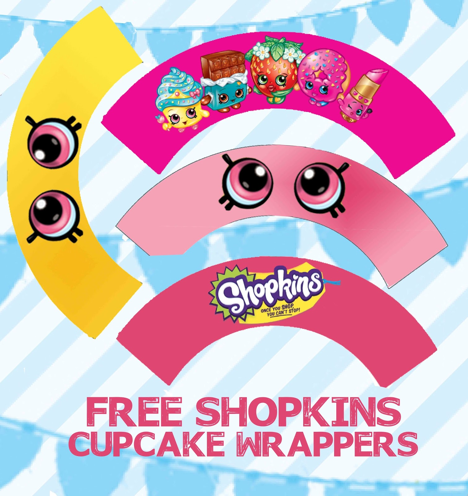 Shopkins Birthday Party Printable Centerpiece Characters Condiment Labels And Cupcake Topper Files