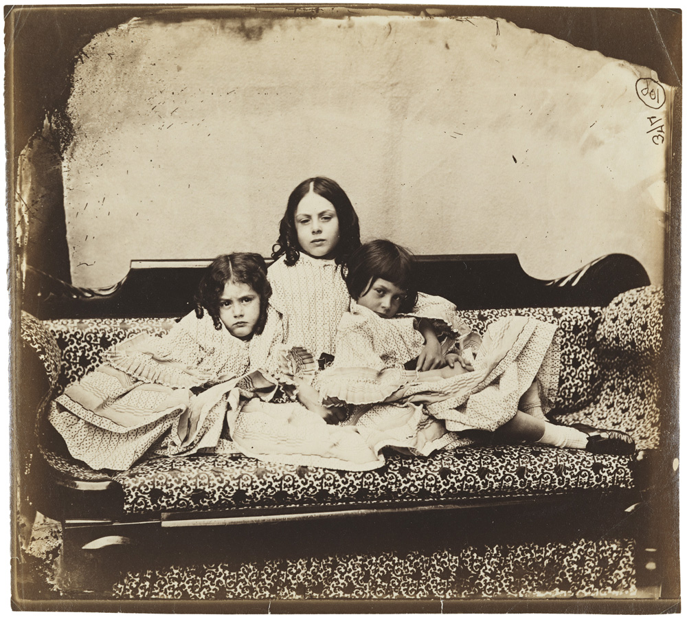 Edith, Ina and Alice Liddell (Pos) by Lewis Carroll - Victorian Giants exhibition, National Portrait Gallery, London