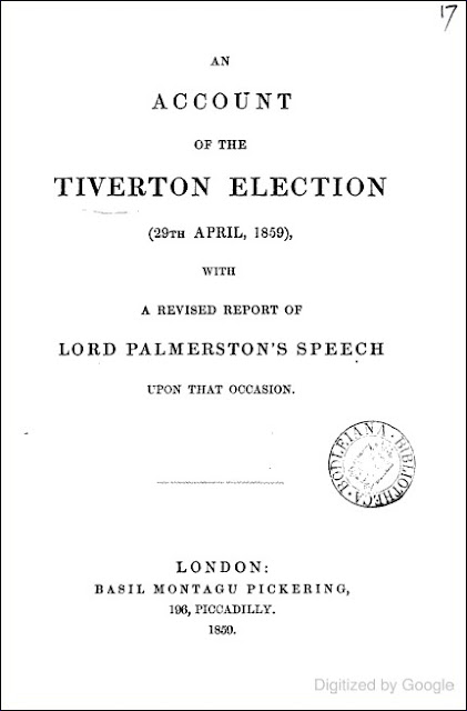 An Account of the Tiverton Election, 29th April, 1859 (Henry John Temple, 1859)