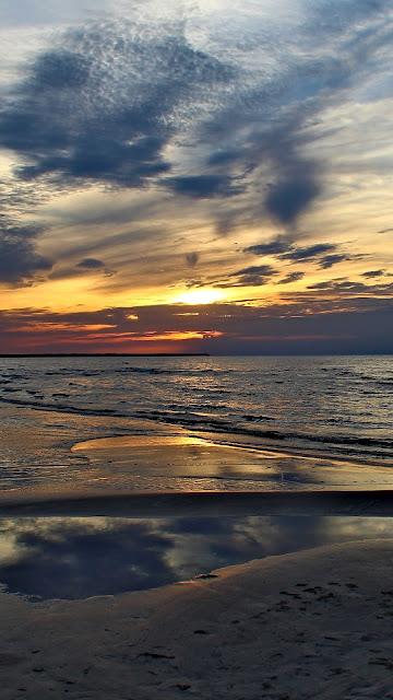 Sunset Beach Sea Horizon Wallpaper