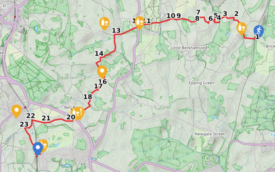 map for Walk 50: Bayford Linear