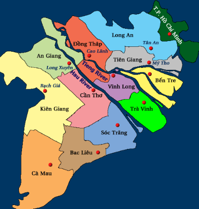 Locations of provinces and city in the Mekong Delta