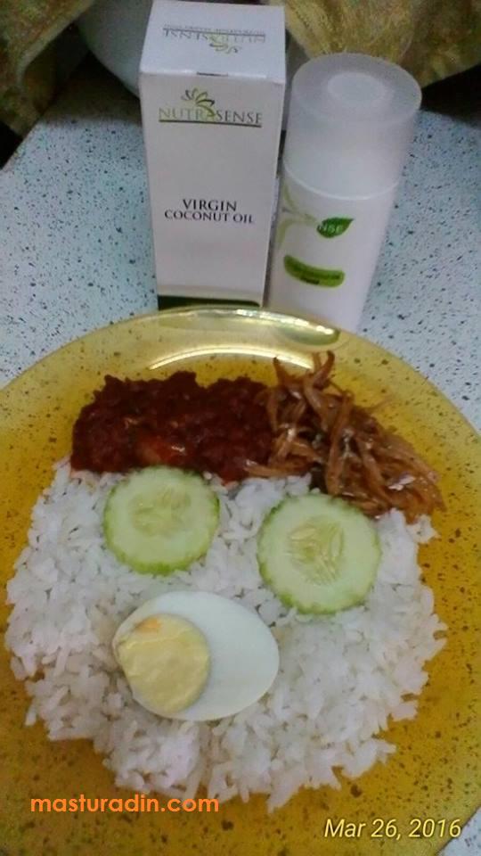 Resepi nasi lemak, virgin coconut oil, minyak kelapa dara, Nutrasense, rahsia kekal wangi, bahan-bahan, cara-cara