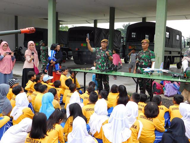 Kegiatan Wisata Juang dan Bela Negara SD Cendana di Batalyon Arhanud 13/PBY