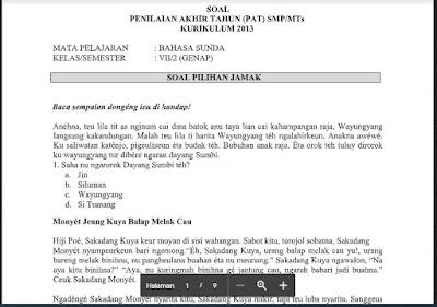 Soal dan Kunci Jawaban PAT Bahasa Sunda Kelas 7