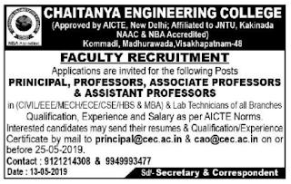 CEC Assistant professors Jobs in Chaitanya Engineering College 2019 Recruitment, Visakhapatnam