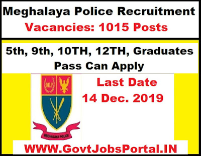 Meghalaya Police Recruitment 2019 : Govt Jobs in Meghalaya for 1015 Sub Inspector, Constables & Other Posts