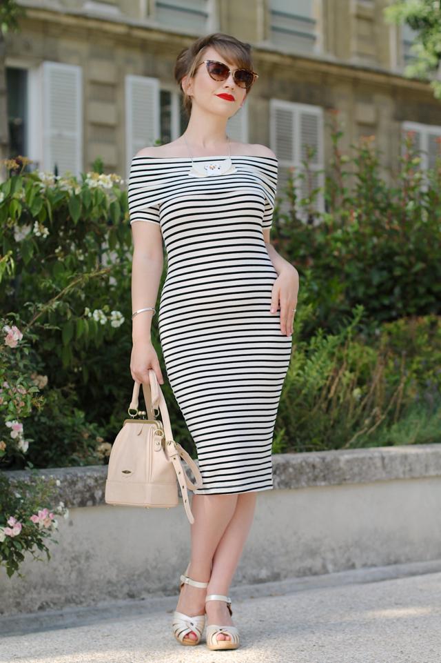 Asos midi bardot stripe wiggle dress with Erstwilder Tunnel of Love necklace in Paris