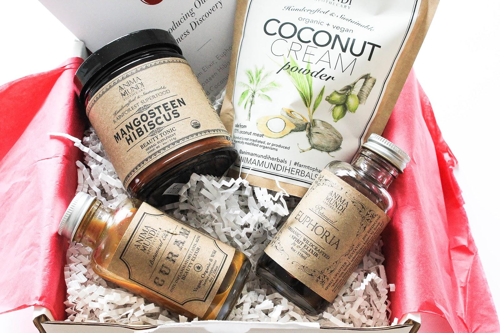 Beauty Heroes Anima Mundi Wellness Discovery. Curam Elixir, Euphoria Spirit Elixir, Mangosteen Hibiscus Superfood, Coconut Cream Powder