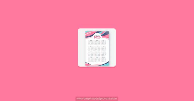 Calendario 2020 gratis con estilo abstracto
