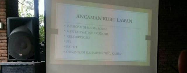 Beredar Foto, Pelatihan Relawan Jokowi Sebut HMI, FPI, Kelompok 212 dan KAMMI Ancaman