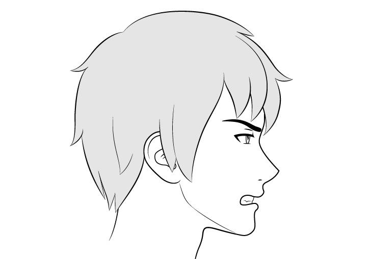 Anime wajah laki-laki tampilan samping gambar ekspresi marah