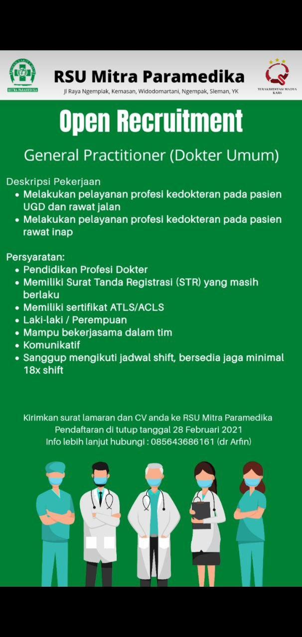 Loker Dokter RSU Mitra Paramedika Yogyakarta