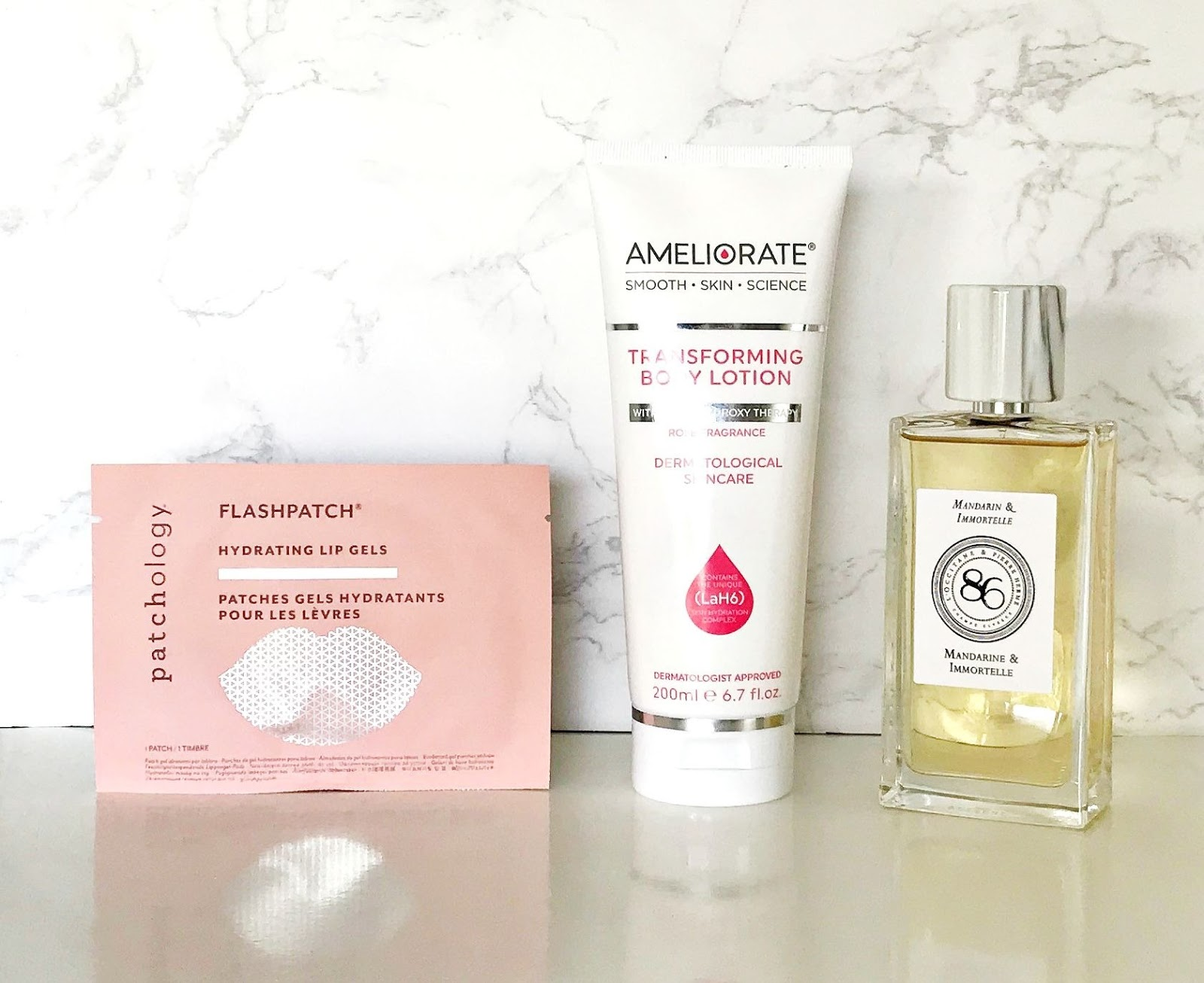 3 treats for 3 budgets, Patchology FlashPatch Hydrating Lip Gels, Ameliorate Transforming Body Lotion Rose Limited Edition, L'Occitane MANDARIN & IMMORTELLE,