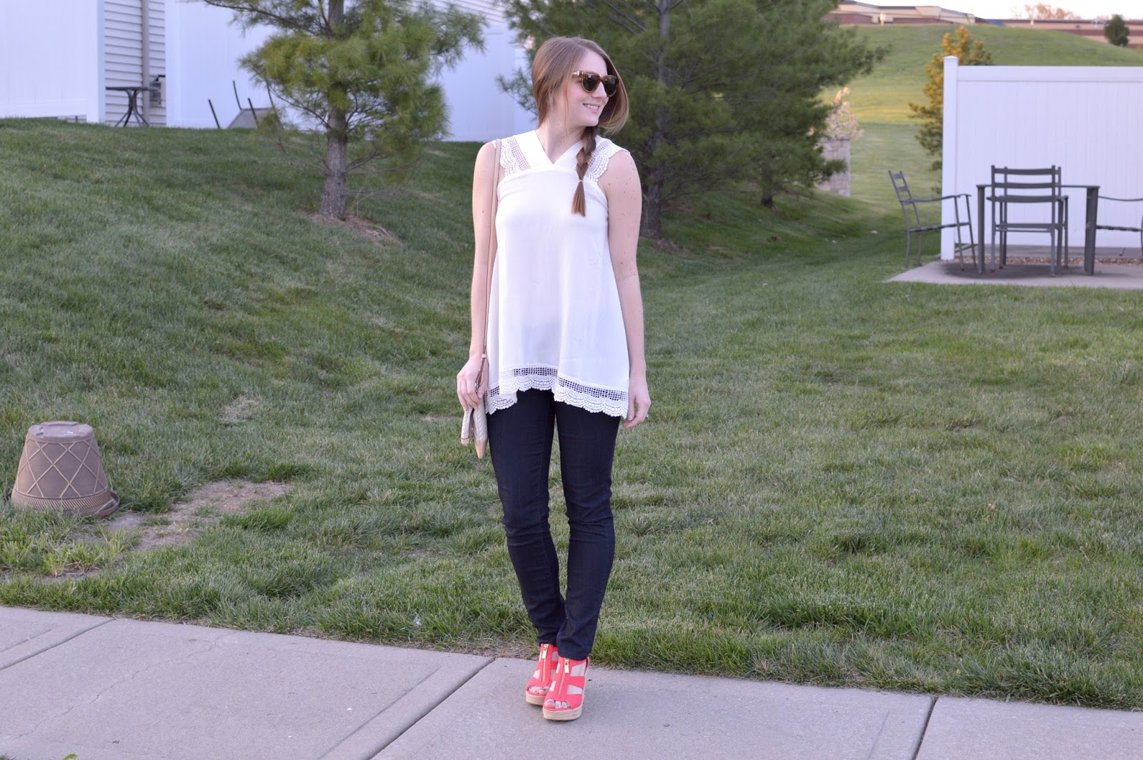 white lace top with blue jeans and colored wedges | what to wear with coral wedges | how to style colored shoes | a memory of us | fashion
