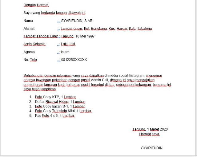 Surat Lamaran Kerja Yang Baik dan Benar Lengkap PDF dan Doc