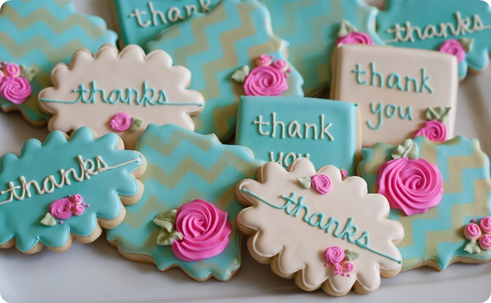 stenciled floral thank you cookies