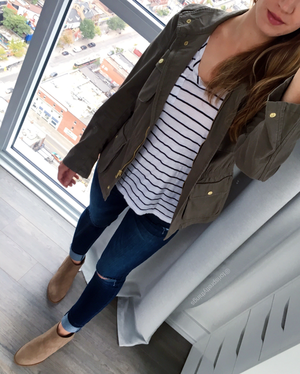 Utility Jacket, Striped Tee, Ripped Jeggings, Light Brown Booties - Fall 2017 Casual Outfit