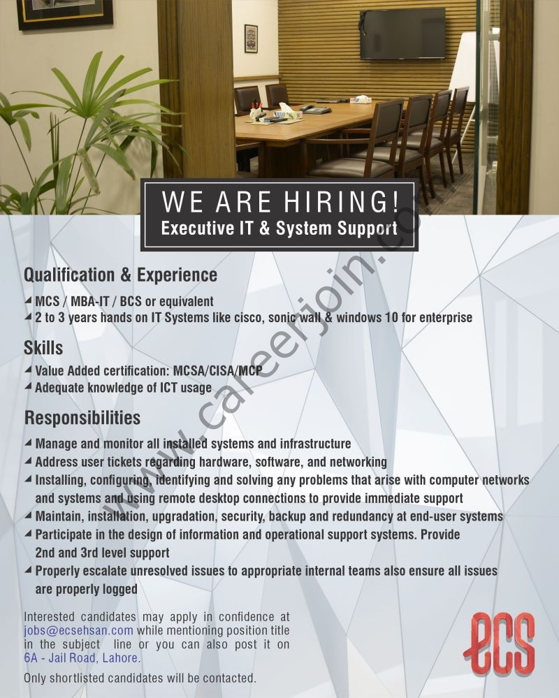 Ehsan Chappal Store ECS Jobs 2021 in Pakistan For Executive IT & System Support - Apply via jobs@ecsehsan.com