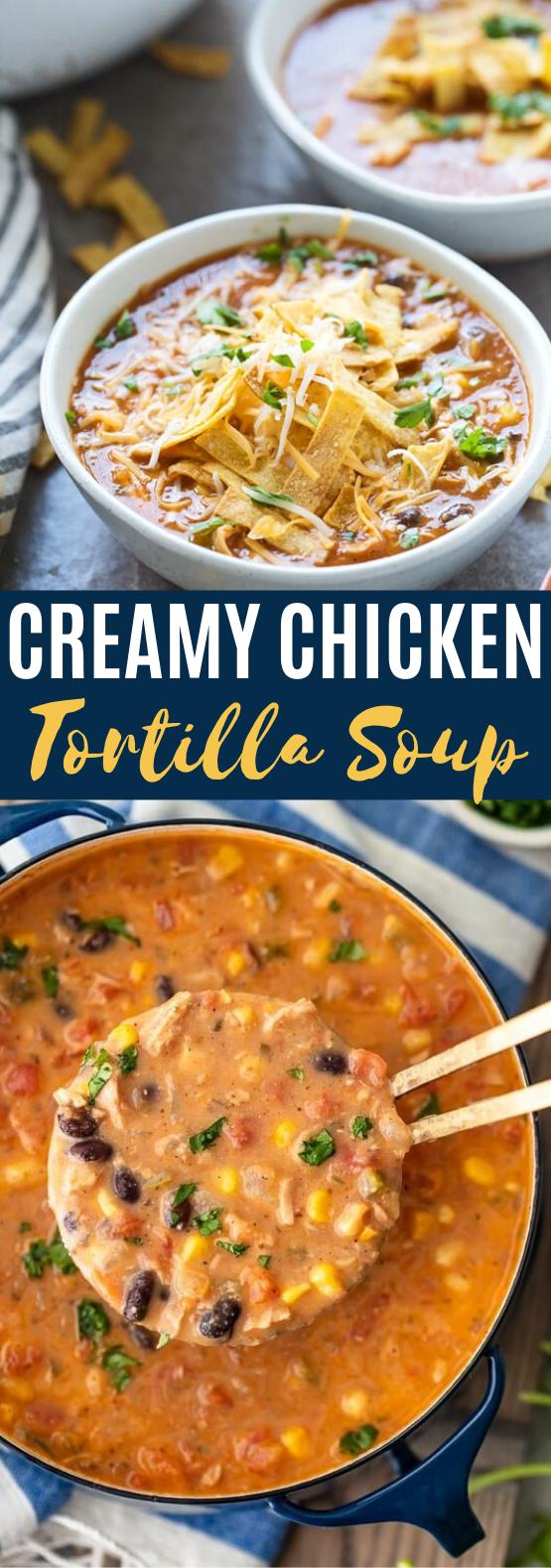 Creamy Chicken Tortilla Soup #dinner #recipes #soup #comfortfood #weeknight