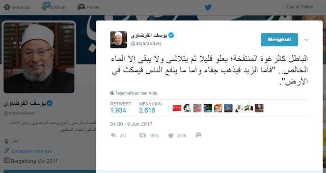 """Ini Twit Syaikh Qaradawi Pasca Ditetapkan Sebagai """"Teroris"""" Oleh Saudi Cs"""