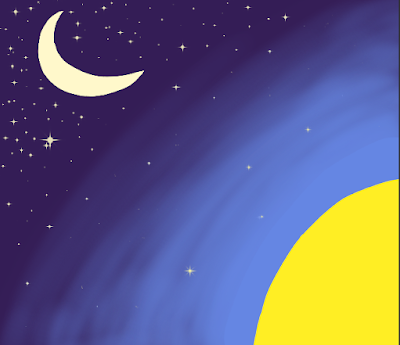 ID: the moon and stars are set against a dark blue in the top left, which blends through twilight, dusk, and dawn, to the bright yellow of the sun and light blue of day in the bottom right.