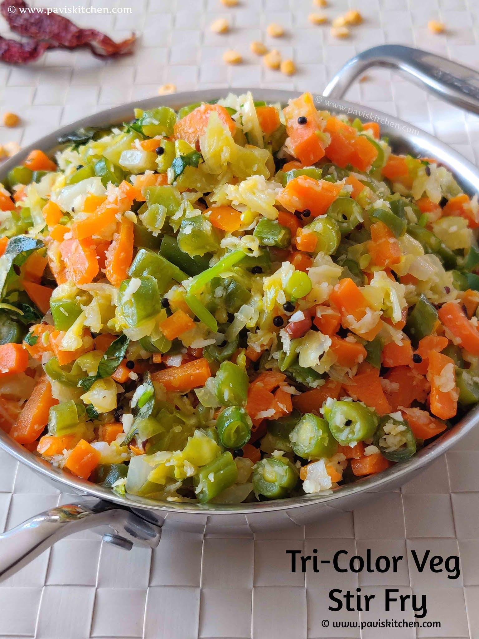 Tri-color poriyal recipe | Carrot beans cabbage poriyal | kadamba kalyana veetu poriyal