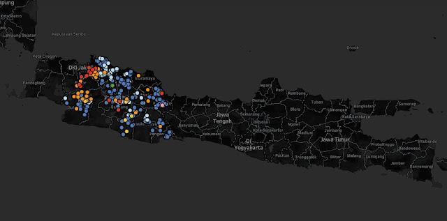 Peta Penyabaran Virus Corona Jawa