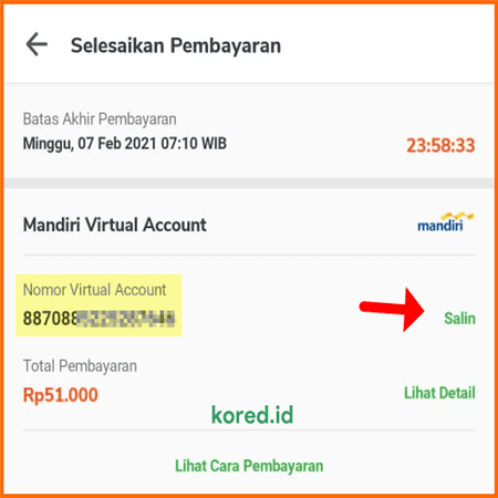 nomor virtual account bank mandiri
