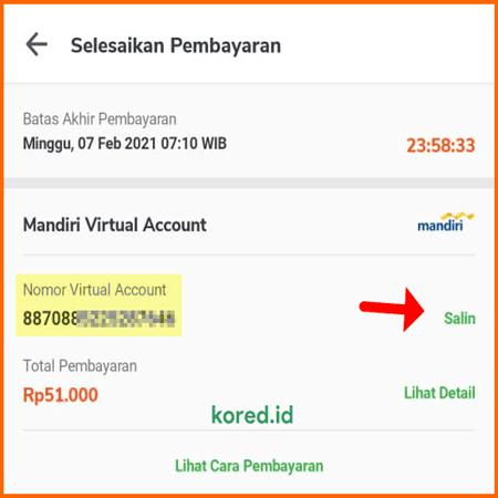 nomor virtual account bank mandiri