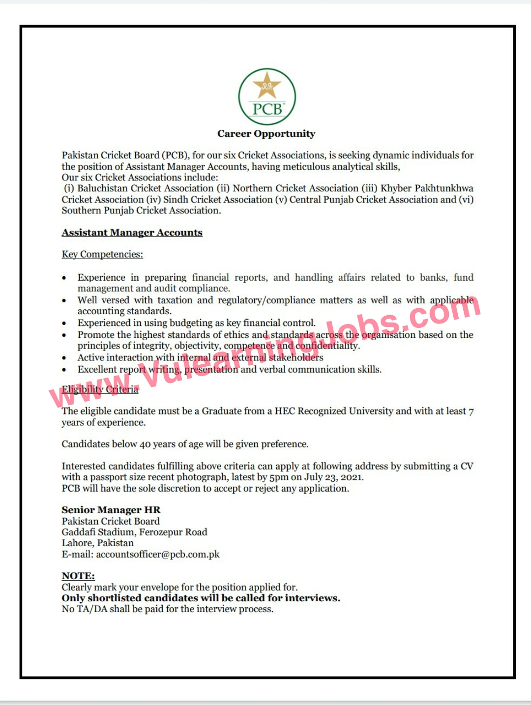 Pakistan Cricket Board PCB Jobs July 2021 Assistant Manager Accounts Latest