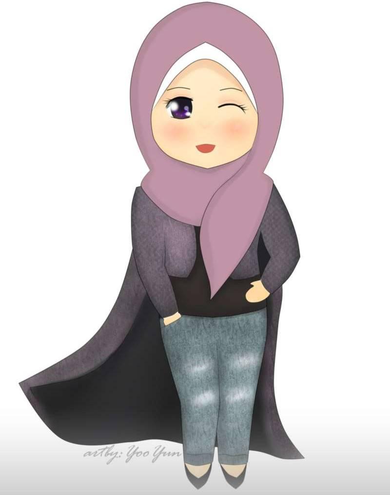 Gambar Kartun Muslimah Membaca Buku Kantor Meme